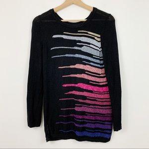 Nic + Zoe Linen Blend Sweater S Black Ombre Pink